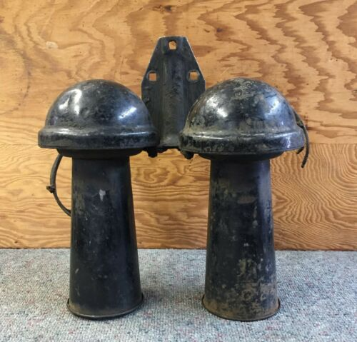 """Antique DOUBLE TRUCK CAR HORN OLD 10"""" Long ORIGINAL W@W GREAT!"""