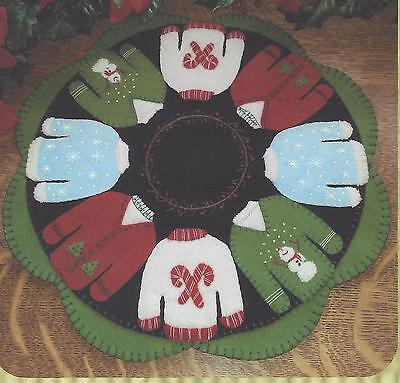 Rockin' The Christmas Sweater felted wool applique penny rug candle mat