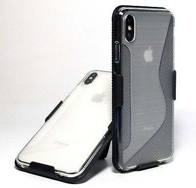 For iPhone XS Max Carbon Fiber pattern frosted clear case with Belt clip holster