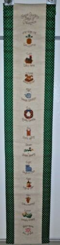 """Completed Finished Cross Stitch TWELVE 12 DAYS of CHRISTMAS Banner Bell Pull 50"""""""