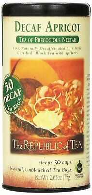The Republic Of Tea Decaf Apricot Gourmet 50 Natural Unbleached Tea Bags