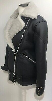 Allsaints HAWLEY shearling Leather Biker Jacket.XS(Uk 6)£898.Black.Acne Velocite