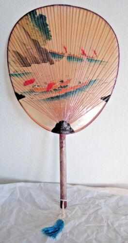 Japanese Vintage Paper Fan Mizu Uchiwa with Bamboo Handle