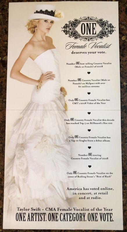 RARE Taylor Swift CMA Consideration Promo Card - Female Vocalist- 2008