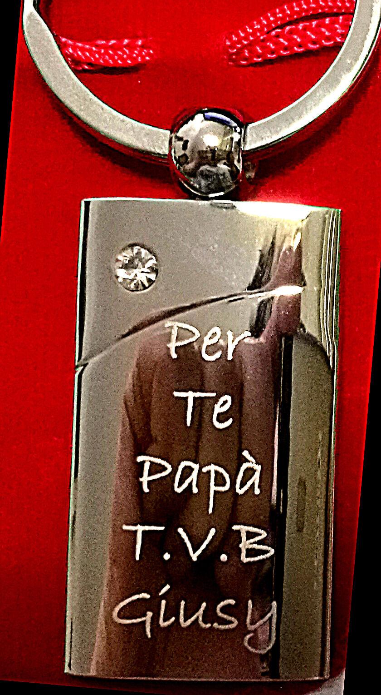 Portachiavi retangollo con pietra personalizzato inciso con Foto / testo