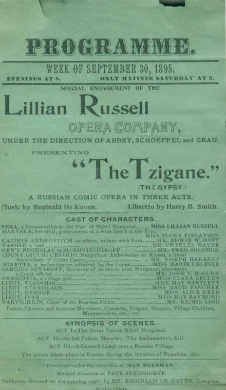 """Theater Program Opera Flyer Lillian Russell """"The Tzigane"""" The Gypsy NY City 1895"""