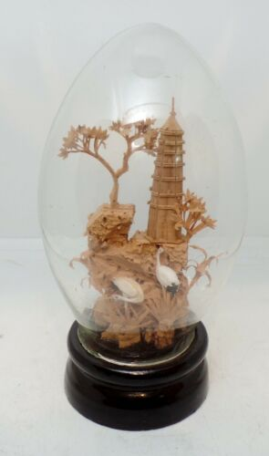 Vintage Oriental Carved Cork Diorama Under Glass Cranes Pagoda