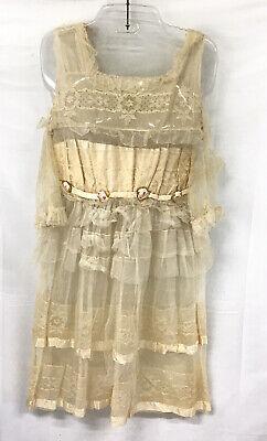 ANTIQUE VINTAGE EDWARDIAN CREAM WEDDING FLOWER GIRL TEA LACE DRESS TULLE NET Lace Tea Dress
