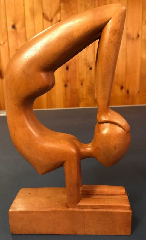 Abstract+Art+Sculpture+Gymnast+Artist+Hand+Carved+Wood+Bali+Statues+Indonesia