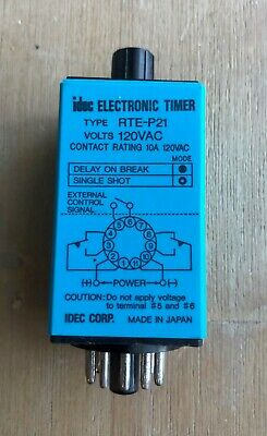 Idec Electronic Timer Type Rte-p21 Time Delay Relay 120v 11 Pin 10a