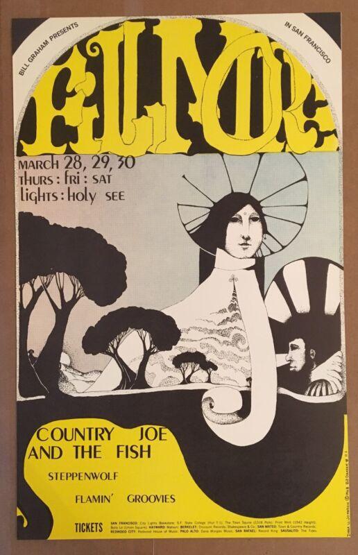 Vintage Country Joe Steppenwolf BG 113 1968 1st Print Concert Poster Bill Graham