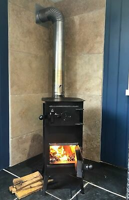 CHEAP SOLID BLACK WOODBURNING STOVE, WOOD LOG BURNER 4 pipes and 1 bend