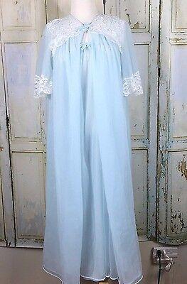 Vintage Lorraine Peignoir Set Blue White Lace Nightgown Robe Bridal Size Small
