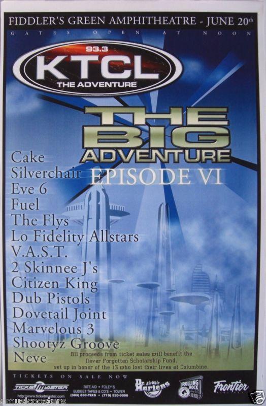 "CAKE /SILVERCHAIR /EVE 6/FUEL ""BIG ADVENTURE VI"" 1999 DENVER CONCERT TOUR POSTER"