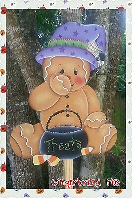 HP Wooden Yard Stake Gingerbread, Lawn Decoration, Yard Art , Sign, Halloween (Wooden Lawn Decorations Halloween)