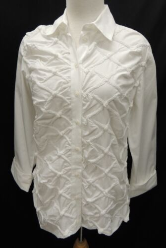 Anne Fontaine White 3/4 Sleeve Stretch Shirt Top Blouse Size 2 France