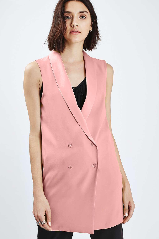 TOPSHOP Black Longline Sleeveless Jacket Blazer Size 6 to 16