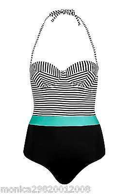 Topshop Streifen Badeanzug Größe UK8 EUR36 US4 Schwarz - Schwarz Und Weiß Gestreiften Badeanzug