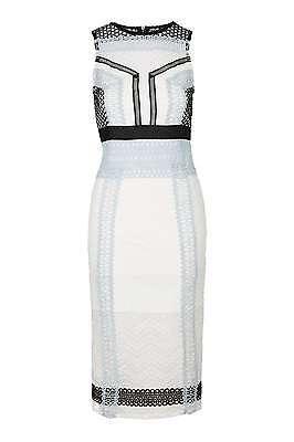 Topshop Colour Block Lace Midi Dress Size UK 16 RRP £89.99 Box46 65 G