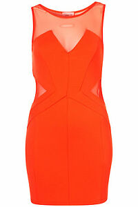 Topshop-mesh-structured-bodycon-dress-by-Dress-Up-by-Topshop-UK-16-in-Coral