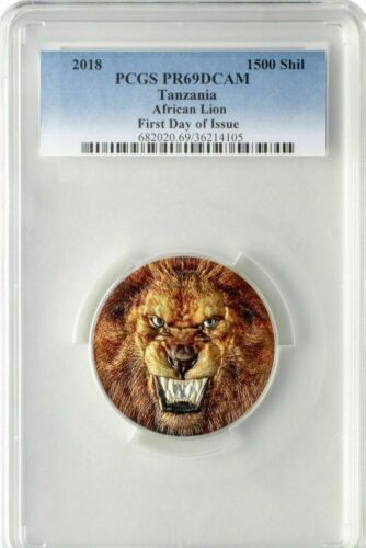 2018 Tanzania African Lion 2oz Silver Colorized Proof UHR Coin PCGSPR69DCAM FDO