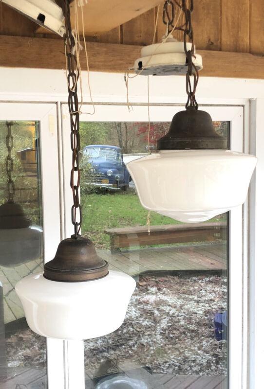 Pair Antique Copper And Milk Glass Pendant Schoolhouse Lights Lamps Fixture