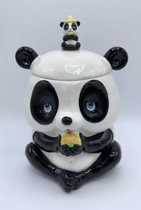 "Vintage Napco Japan Panda Bear Cookie Jar  10.25"" * RARE"