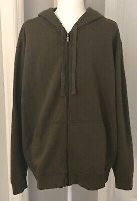 L.L. BEAN Men's Classic Army Green Zip Up Sweatshirt Hoodie Kangaroo Pockets XL Green Kangaroo Hoody Sweatshirt