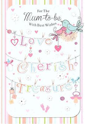 Mum To Be Card. For The Mum-to-Be, With Best Wishes, Love, Cherish,