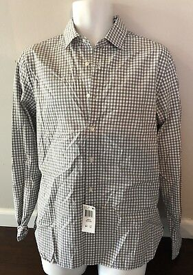 New $98 The Men's Store Bloomingdale's Hunter Green Plaid Dress Button Up Shirt  ()