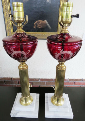 2 Antique Bohemian Egermann cranberry cut to clear classical table lamps marble