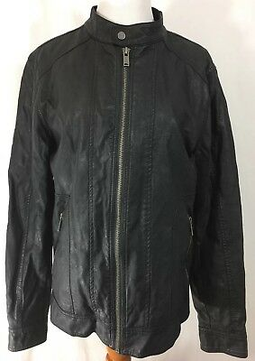 Guess Men's Black Motorcycle Faux Leather Jacket Size (Medium) ZIP Up