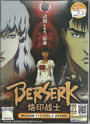 BERSERK (SEASON 1+2) - COMPLETE ANIME TV SERIES DVD BOX SET (1-25 EPS)