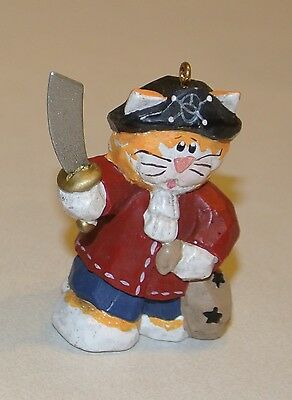 Eddie Walker Cat in PIRATE Costume w/ sword Ornament Rare Find! Halloween