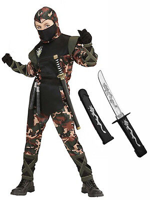 Boys Ninja Army Camouflage Soldier Fancy Dress Costume Outfit Samurai 5-13 + Toy