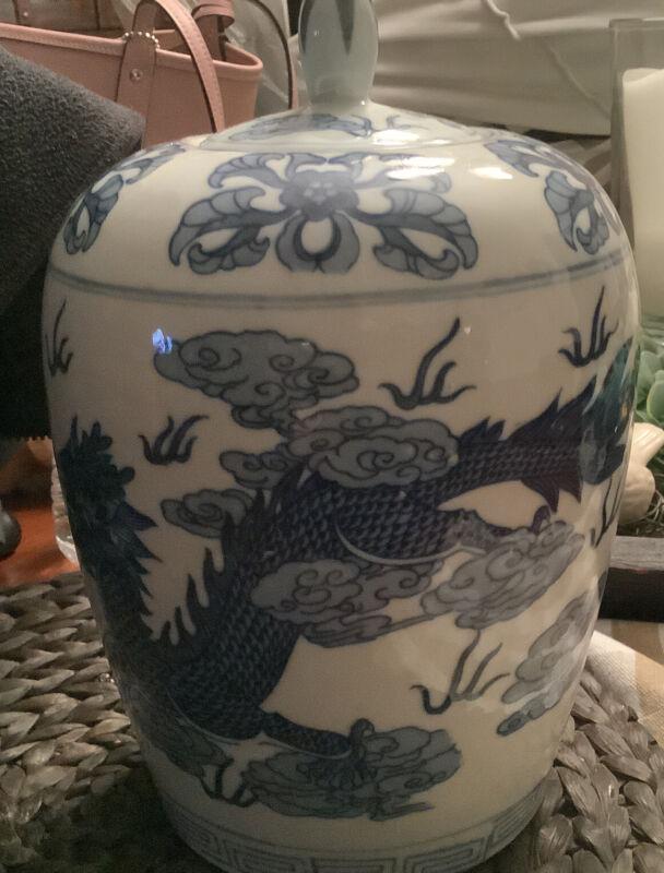 """Blue & White~Ginger Jar~Dragon/Floral Motif~10.75""""H~FREE SHIPPING~Beautiful~NICE"""