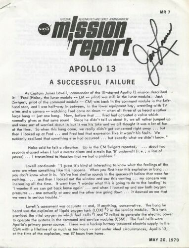 JIM LOVELL Autographed Apollo 13 Mission Report- MR 7- 1970- 8 Pages RARE COA