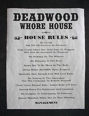 (266L) OLD WEST BROTHEL RULES DEADWOOD WHORE HOUSE PUB BAR DECOR POSTER 11