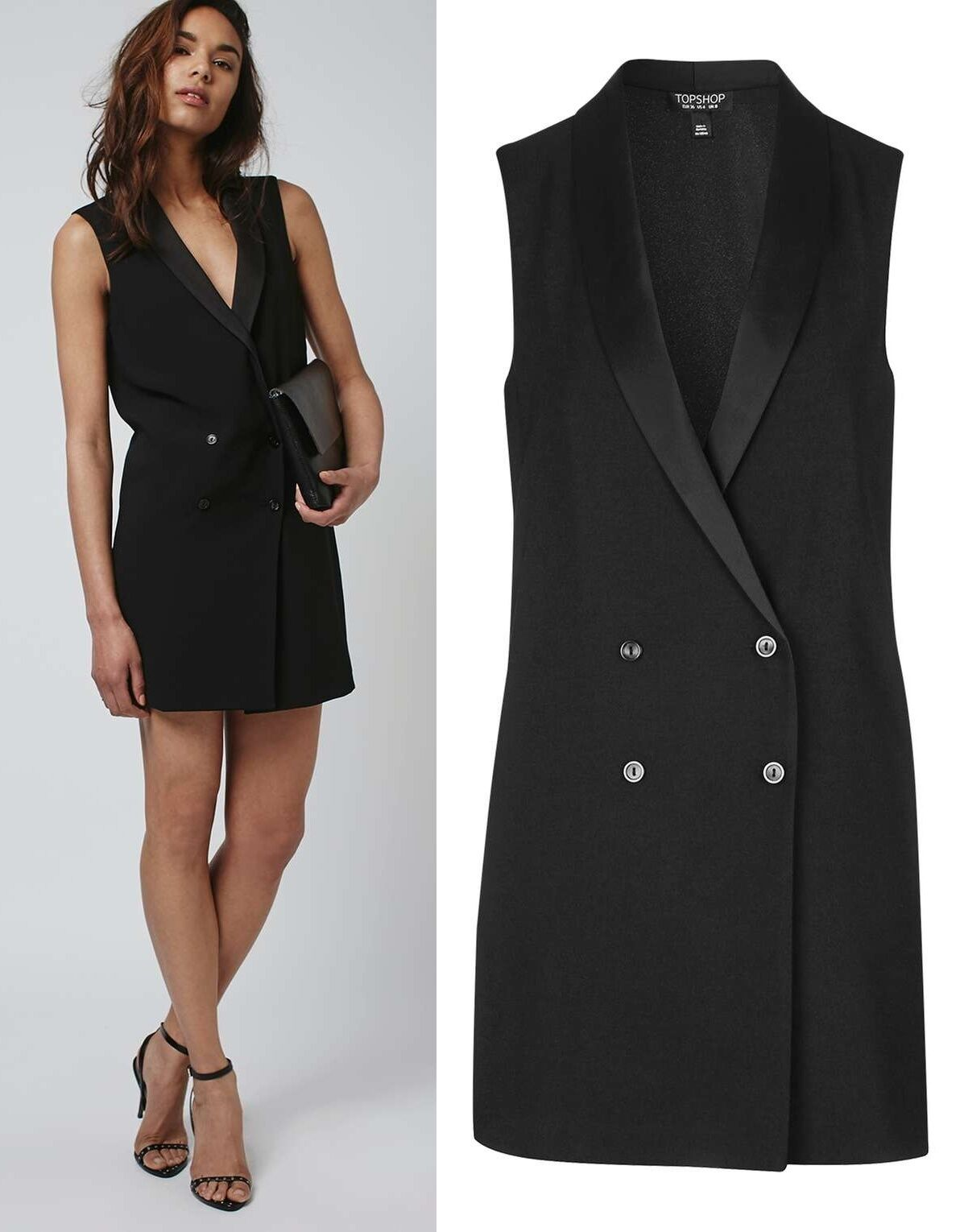 4c7a6c694b1e92 Details about TOPSHOP Black Longline Sleeveless Jacket Blazer Size 6 to 16