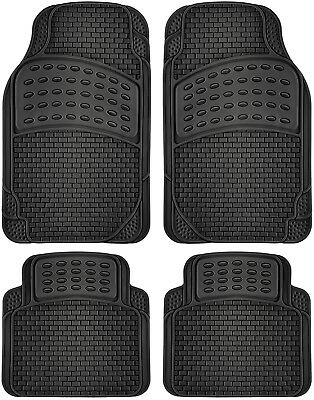 4pc Rubber Car Floor Mats Fits All Weather Semi Custom Fit Heavy Duty Black