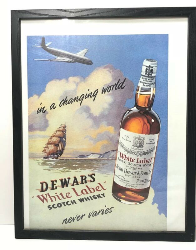 Vintage Dewar's White Label Scotch Whiskey Framed Advertisement Poster Picture