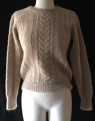 Old True VTG ALPACA Cable Knit Sweater ORVIS FISHING TACKLE Label S ULTRA Soft for sale  Shipping to India