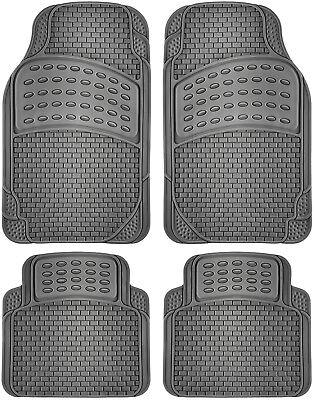 4pc Car Rubber Floor Mats All Weather Semi Custom Fit Heavy Duty Gray Universal