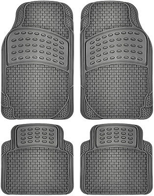 4pc Car Rubber Floor Mats Fits All Weather Semi Custom Fit Heavy Duty Gray