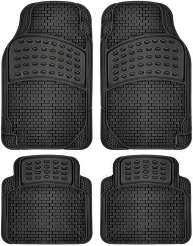 Car Rubber Floor Mats Fits All Weather 4pc Set Semi Custom Fit Heavy Duty Black