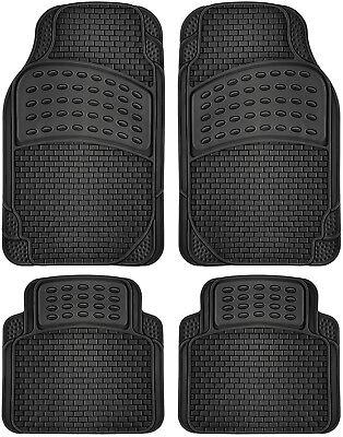 Car Floor Mats All Weather Rubber 4pc Set Semi Custom Fit Heavy Duty Black