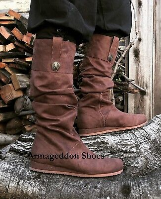 Brown Scottish Wedding Groomsmen Medieval Peasant Pirate Costume Shoe Boots - Mens Brown Pirate Boots