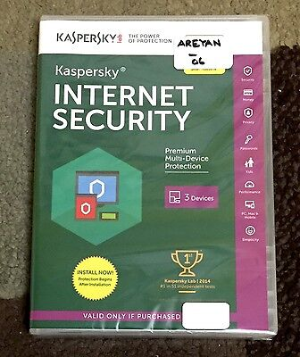 NEW Kaspersky Internet Security 2016 3PCs 1 Year Protection Expires 08/20/17