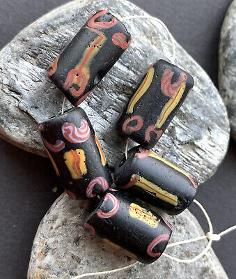 African Trade Bead Vintage Venetian Antique Glass 5 Black Beads
