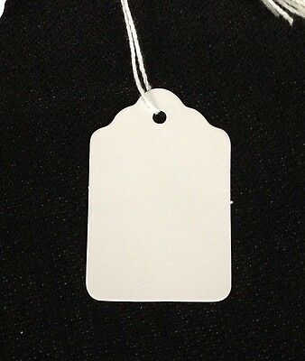 100 LARGE White BLANK Strung Scallop Top Merchandise Inventory Jewelry Tags